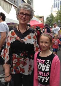 Author illustrator Lynley Dodd with a fan