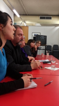 Crime writers Dominique Sylvain (second from right) & Carlo Lucarelli (second from left) talking Murder & Mayhem in Translation