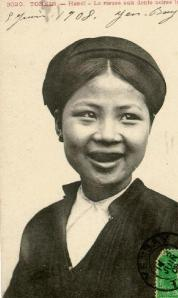 1908 postcard of a women from Tonkin (Hanoi) with blackened teeth