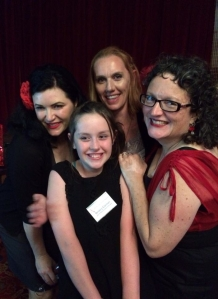 Leigh Redhead, Bridey Carmel, Kylie Fox & me in my favourite pic of the night