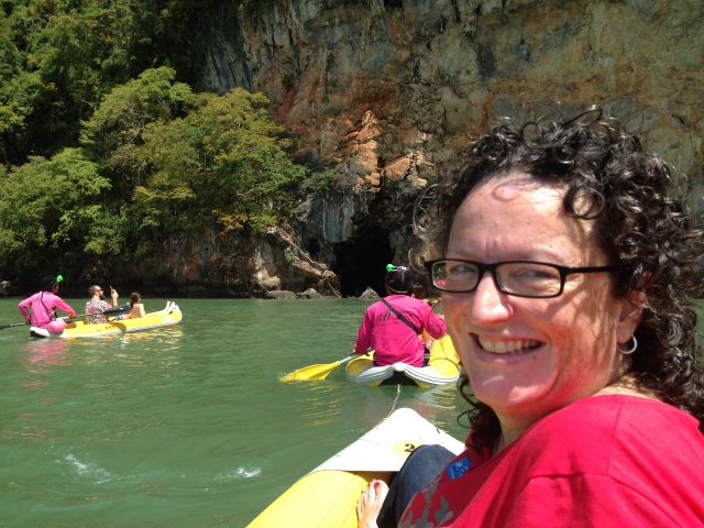Paddling to the cave entrance