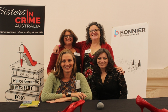 Back: Wendy James & me; front: Anna George & Honey Brown after talking Domestic Noir