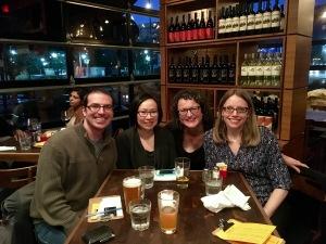 Last drinks: Paolo Bacigalupi, Malinda Lo, me & and Cheryl Klein